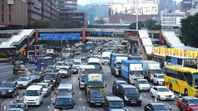 Traffic jam in Hong Kong. Almost 365 days would have traffic jam in Hong Kong harbour tunnel. Driver need to be patient when driving stock video footage
