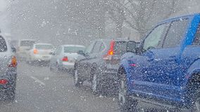 Traffic Jam In Snow Storm Stock Images