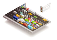 Traffic Jam Isometric Design Concept Royalty Free Stock Photography