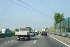 Traffic jam on italian highway stock photo