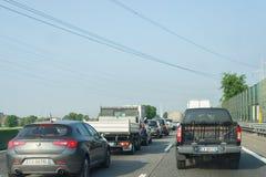 Traffic jam on italian highway royalty free stock images