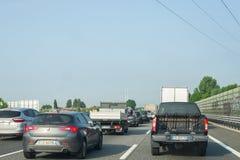 Traffic jam on italian highway stock photography