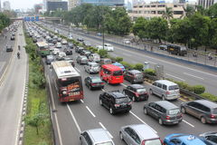 Traffic Jam in Jakarta Stock Images