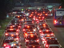 Traffic jam in Jakarta. JAKARTA, INDONESIA - July 14, 2017: Traffic jam in the evening on Sudirman road Stock Images
