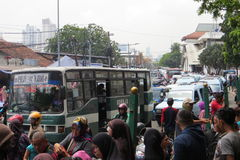 Traffic jam in Jakarta. JAKARTA, INDONESIA - March 5, 2017: Traffic congestion in Tanah Abang district royalty free stock image