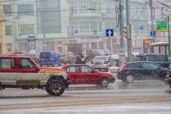 Traffic jam on Kaluzhskaya square of Moscow Stock Photo