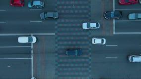 Traffic jam on Kiev street. Aerial top down view of traffic on Kiev street. Traffic jam stock video footage