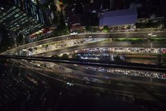 Traffic jam in Kuningan area Jakarta. JAKARTA - Indonesia. March 26, 2018: Top view of traffic jam in Kuningan area Jakarta at night Stock Photography