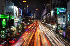 Traffic jam long exposure Stock Images