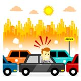 Traffic Jam. Man feeling stressed getting stuck in a morning traffic jam (in Flat Cartoon Style vector illustration
