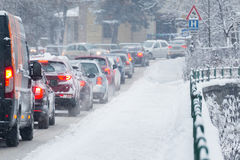 Traffic jam in the middle of winter. Snow calamity. Royalty Free Stock Photos