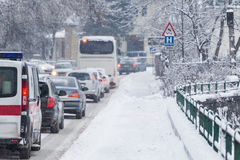 Traffic jam in the middle of winter. Snow calamity. Stock Image