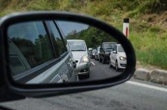 Traffic jam in the mirror Stock Photo