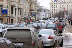 Traffic jam in Moscow. Er small street at spring Stock Photo