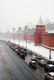 Traffic jam by Moscow Kremlin wall Stock Photos