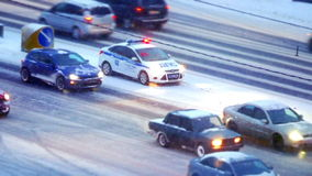 Traffic jam in Moscow, Russia. Traffic jams at rush hour in Moscow on Kutuzov Avenue  winter stock footage