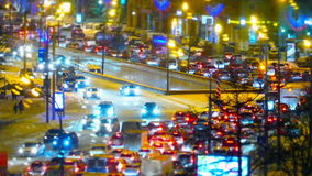 Traffic jam in Moscow, Russia. Traffic jams at rush hour in Moscow on Kutuzov Avenue  winter stock video footage