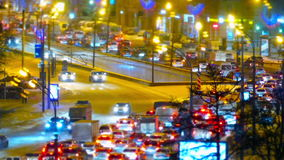 Traffic jam in Moscow, Russia. Traffic jams at rush hour in Moscow on Kutuzov Avenue  winter stock video