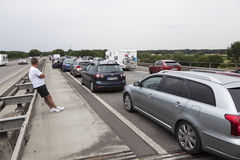 Traffic jam on motorway in germany Royalty Free Stock Images