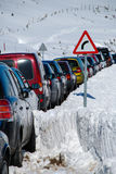 Traffic jam. On a mountain port Stock Photography