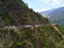 Traffic Jam on a mountain road Royalty Free Stock Photo