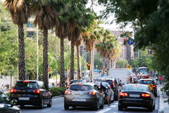 Traffic jam. Traffic movement in a big avenue in Barcelona Royalty Free Stock Photo