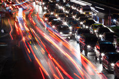 Traffic jam at night Stock Image
