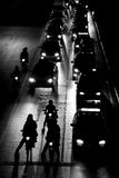 Traffic jam at night. Bw Stock Photo