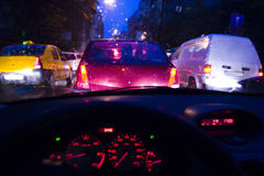 Traffic jam at night Stock Photos