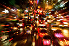 Traffic jam night shot, with dynamic blur effect. Traffic jam on a large street in the city, night shot with dynamic blur effect Royalty Free Stock Photos