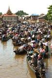 Traffic jam in Phaung Daw Oo Pagoda festival,Myanmar. Stock Images