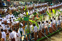 Traffic jam in Phaung Daw Oo Pagoda festival,Myanmar. Stock Photos