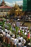 Traffic jam in Phaung Daw Oo Pagoda festival,Myanmar. Royalty Free Stock Photo