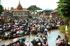 Traffic jam in Phaung Daw Oo Pagoda festival,Myanmar. Royalty Free Stock Image