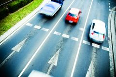 Traffic jam with racing cars Royalty Free Stock Image