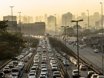 Traffic jam in Radial Leste Avenue. Sao Paulo, SP, Brazil, June 26, 2018. Heavy traffic on the East-West connection, Radial Leste Avenue, at morning day, in stock photography