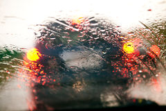 Traffic jam during rain Royalty Free Stock Image
