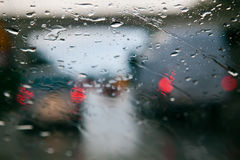 Traffic jam during rain Royalty Free Stock Images