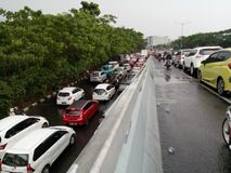 Traffic jam on the rain royalty free stock image