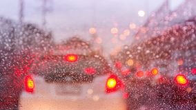 Traffic jam in rainny day Stock Image