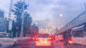 Traffic jam in rainny day Royalty Free Stock Photo