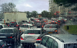 Traffic jam on rainy day in Paris. Royalty Free Stock Photos