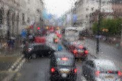 Traffic jam on rainy weather in London Royalty Free Stock Photo