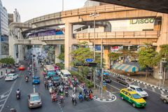 Traffic jam on Rama I street in Bangkok Stock Image