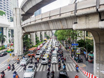 Traffic jam on Ratchaprasong intersection Royalty Free Stock Photos