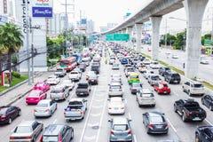 Traffic jam on Rattanathibet Road, Nonthaburi. Royalty Free Stock Photos