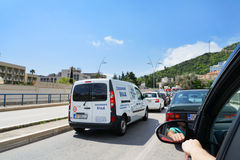Traffic jam in a road from Bar to Budva. Budva, Montenegro, April, 12, 2016: Traffic jam in a road from Bar to Budva before the entry in the city Stock Image