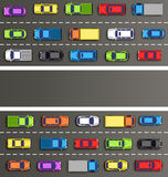 Traffic jam on the road with cars on gray Stock Photos