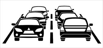 A traffic jam on the road. During rush hour. Vector illustration vector illustration