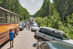 Traffic jam on road to military exhibition Royalty Free Stock Photos